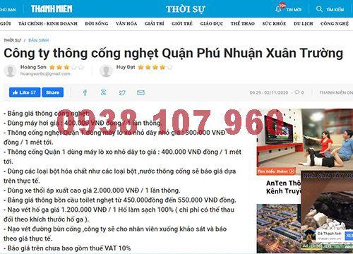 Thông cầu cống nghẹt quận Phú Nhuận giảm 24% bảo hành 21 tháng